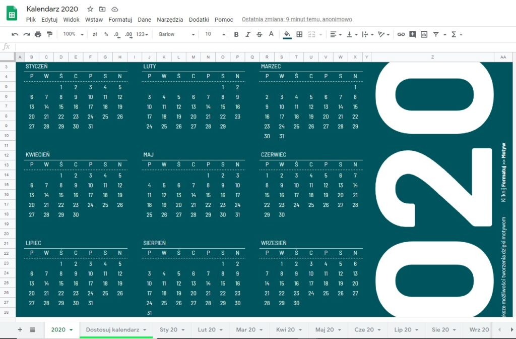 Kalendarz 2020 do planowania nauki dla dzieci plan lekcji