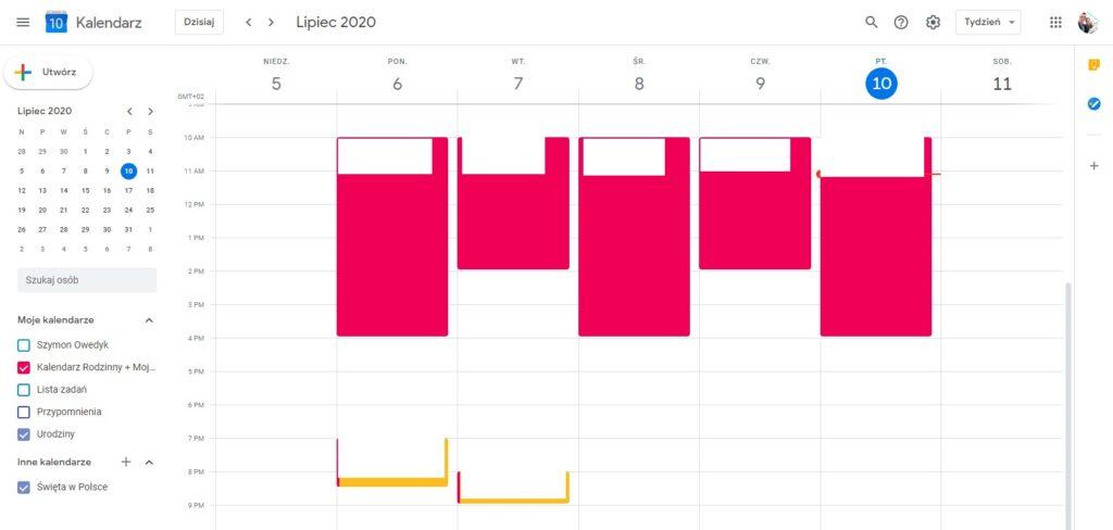 Kalendarz Google do planowania dnia