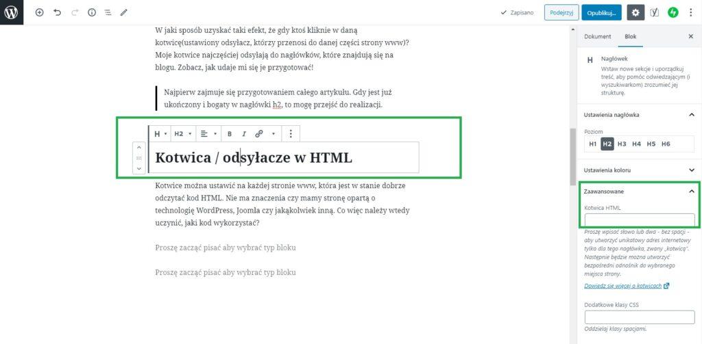 kotwica wordpress czyli odsyłacze html