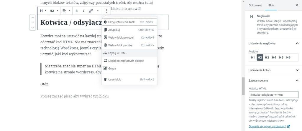 edycja kotwicy wordpress odsyłacze html