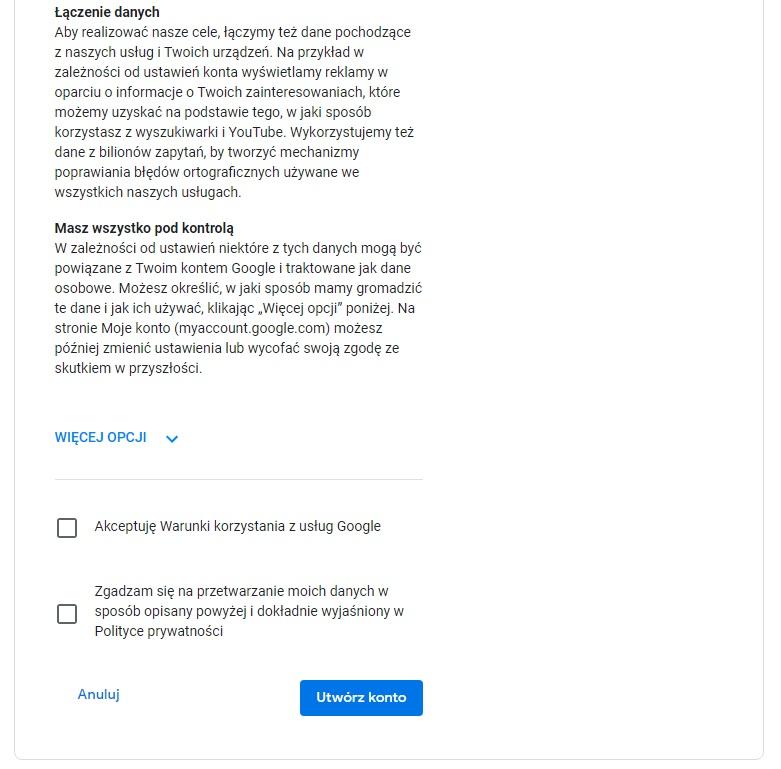 jak założyć gmaila - akceptacja warunków umowy z Google
