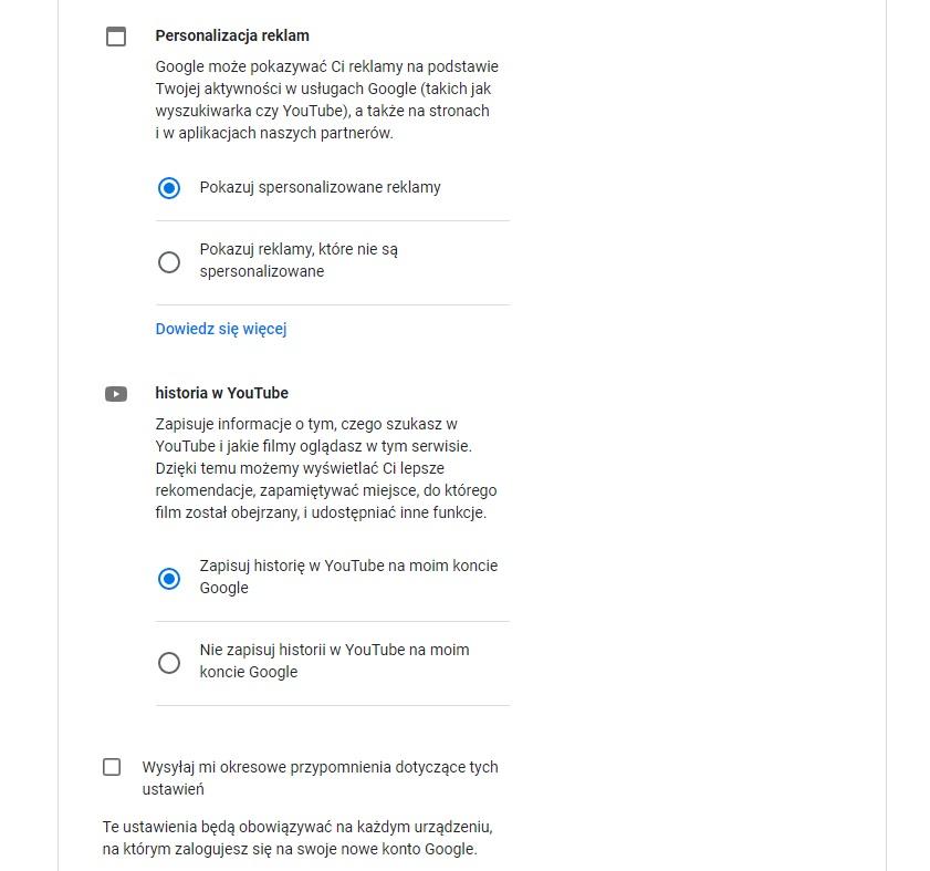 jak założyć gmaila - personalizacja reklam i historia YouTube