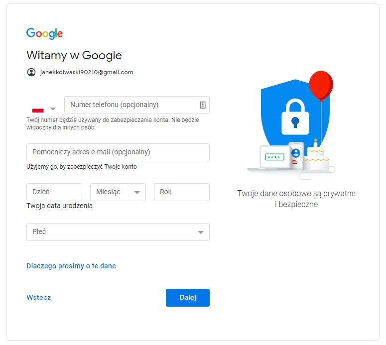 jak założyć gmaila wypełniając kolejny formularz o telefon i pomocniczy adres email