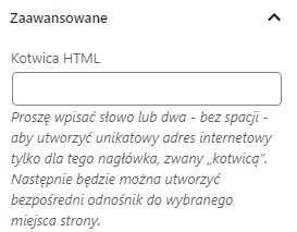 kotwica WordPress ustawienie odsyłaczy html na stronie www