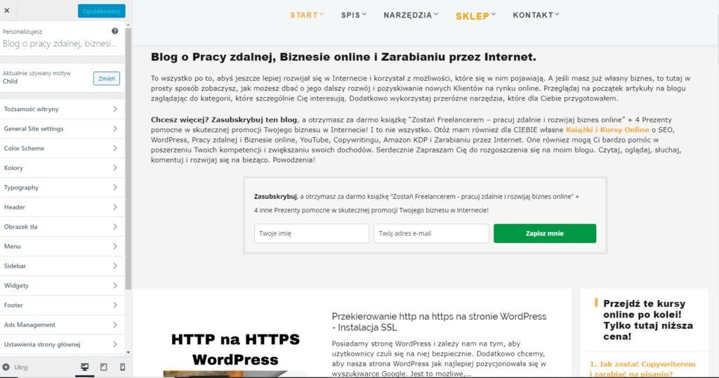 http na https WordPress przez Wygląd i Dostosuj motyw WordPress