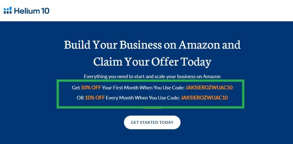 Helium 10 kod promocyjny dla czytelników bloga o Amazon KDP i rozwoju, pracy zdalnej i biznesie online