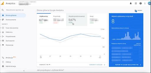 Widok główny Google Analytics