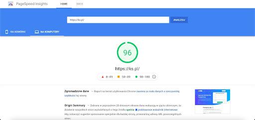 Test PageSpeed Insights dla strony ks.pl